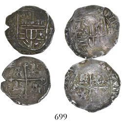 Lot of 2 Mexico City, Mexico, cob 1R, Philip II and III, assayer F, one with assayer to right and mi