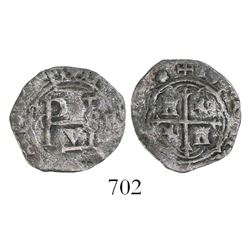 Mexico City, Mexico, cob 1/2 real, Philip II, assayer F to right, floret ornament at end of legend.