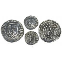 Lima, Peru, 2 reales, Philip II, assayer R (Rincon) to right (rare), motto as PL-VSV-TR, legends spl