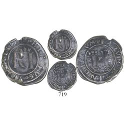 Lima, Peru, 1/2 real, Philip II, assayer R (Rincon), legends split as HISP / IARVM.