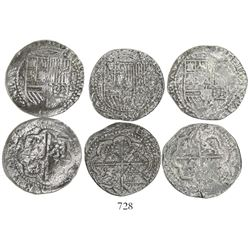 Lot of 3 Lima, Peru, cob 2R, Philip II, assayer Diego de la Torre, *-ii to left, P-oD to right.