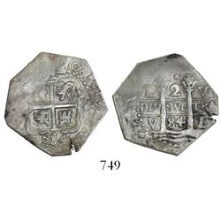 Lima, Peru, cob 2 reales, 1684V.