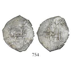 Lima, Peru, cob 2 reales, 1694M.