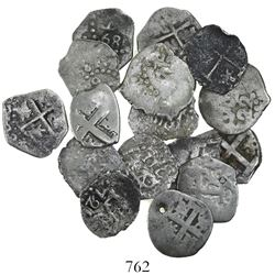 Lot of 16 Lima, Peru, cob 1/2R, Charles II, Philip V and Louis I, various dates (most clear).