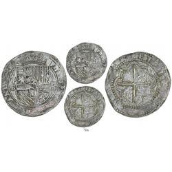 "Potosi, Bolivia, cob 8 reales, Philip II, assayer B (1st period, ""Lima style""), rare."