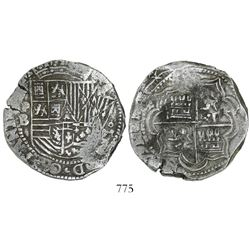 Potosi, Bolivia, cob 8 reales, Philip II, assayer B (3rd period, crude style).