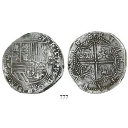 Potosi, Bolivia, cob 8 reales, Philip II, assayer A.