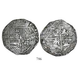 Potosi, Bolivia, cob 8 reales, Philip II, assayer B (5th period), borders of x's.