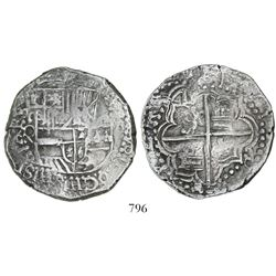 Potosi, Bolivia, cob 8 reales, Philip III, assayer Q, quadrants of cross transposed and with rotated