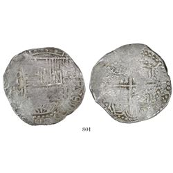 Potosi, Bolivia, cob 8 reales, Philip III, assayer M (pre-dating), quadrants of cross transposed.