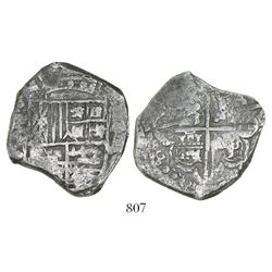 Potosi, Bolivia, cob 8 reales, Philip IV, assayer P (ca. 1622), transposed lions and castles in cros