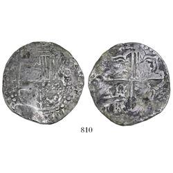 Potosi, Bolivia, cob 8 reales, Philip IV, assayer P (mid- to late 1620s), quadrants of cross transpo