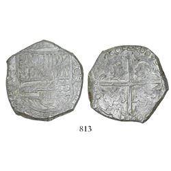 Potosi, Bolivia, cob 8 reales, Philip IV, assayer P/T (1628).