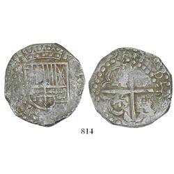 """Potosi, Bolivia, cob 8 reales, 1629T/P, ex-""""Panama hoard,"""" denomination dot-8-dot, heavy-dot borders"""