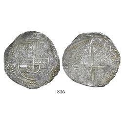 Potosi, Bolivia, cob 8 reales, 16(29)T, fine-dot borders.