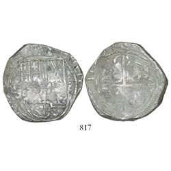 Potosi, Bolivia, cob 8 reales, 1629(T), denomination dot-8-dot, fine-dot borders.