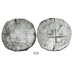 Potosi, Bolivia, cob 8 reales, 1645, assayer not visible.
