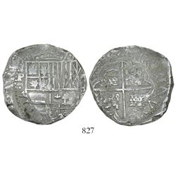 Potosi, Bolivia, cob 8 reales, (16)4(5?), assayer not visible.