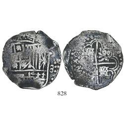 Potosi, Bolivia, cob 8 reales, Philip IV, assayer not visible (ca. 1645).