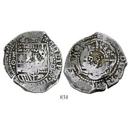 Potosi, Bolivia, cob 8 reales, (1650-1)O, with crowned-dot-F-dot countermark (4 dots) countermark on