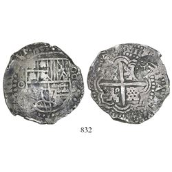 Potosi, Bolivia, cob 8 reales, (1650-1)O, with crown-alone countermark (rare type) on cross.