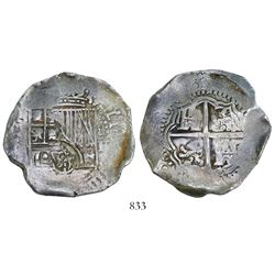 Potosi, Bolivia, cob 8 reales, (1651-2)E, with crowned-dot-F-dot countermark on shield.