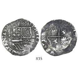 Potosi, Bolivia, cob 4 reales, Philip II, assayer L (1st period).