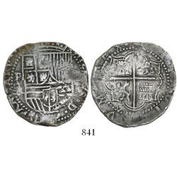 Potosi, Bolivia, cob 4 reales, Philip II, assayer A/B.