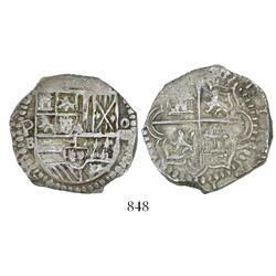 Potosi, Bolivia, cob 4 reales, Philip II, assayer B (5th period).