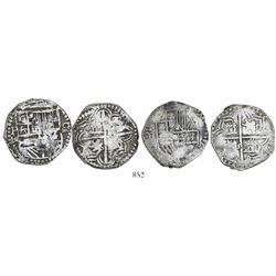 Lot of 2 Potosi, Bolivia, cob 4 reales, Philip III, assayer R (curved-leg).
