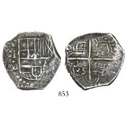Potosi, Bolivia, cob 4 reales, Philip III, assayer M, ex-Karon.