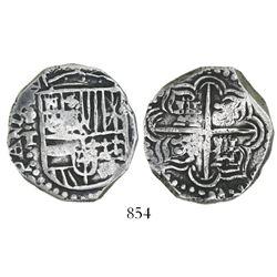 Potosi, Bolivia, cob 4 reales, Philip III, assayer T (ca. 1620).