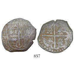 "Potosi, Bolivia, cob 4 reales, Philip IV, assayer T/P (mid-1620s), ex-""Panama hoard."""