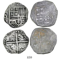Lot of 2 Potosi, Bolivia, cob 4 reales, Philip III and IV, assayers Q and T.