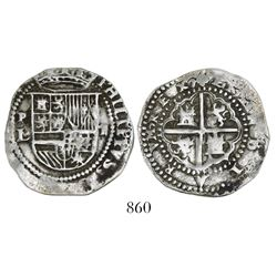 Potosi, Bolivia, cob 2 reales, Philip II, assayer L (1st period), reverse struck with 1R die (unique