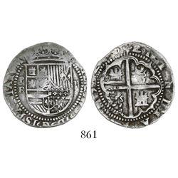 "Potosi, Bolivia, cob 2 reales, Philip II, assayer B (1st period, ""Lima style"")."
