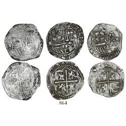 Lot of 3 Potosi, Bolivia, cob 2 reales, Philip II, assayers A, B (4th period) and RL.