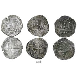 Lot of 3 Potosi, Bolivia, cob 2 reales, Philip II, assayers A (2) and R (Ramos).