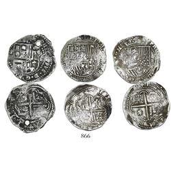 Lot of 3 Potosi, Bolivia, cob 2 reales, Philip II, assayers not visible.
