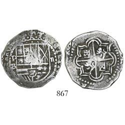 Potosi, Bolivia, cob 2 reales, Philip II, assayer B (5th period), border of x's on obverse.