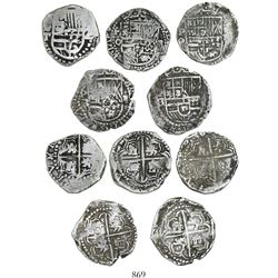 Lot of 5 Potosi, Bolivia, cob 2 reales, Philip III, assayers RL (curved leg), Q and T.