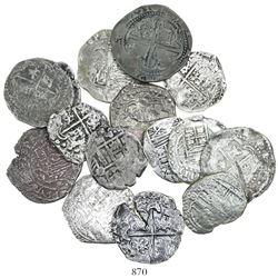 Lot of 15 Potosi, Bolivia, cob 2R, Philip II through IV, various assayers (where visible).