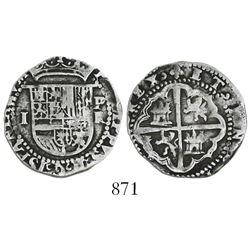 Potosi, Bolivia, cob 1 real, Philip II, assayer R to right (Rincon).