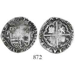 Potosi, Bolivia, cob 1 real, Philip II, assayer M to left, rare.