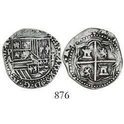 Potosi, Bolivia, cob 1 real, Philip II, assayer A.