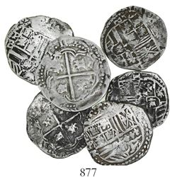 Lot of 6 Potosi, Bolivia, cob 1 reales, Philip II, assayers B and R.