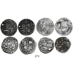 Lot of 4 Potosi, Bolivia, cob 1 reales, Philip II, assayers M, B, A and R.