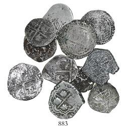 Lot of 12 Potosi, Bolivia, cob 1R (9) and 1/2R (3), Philip II through IV, various assayers (where vi