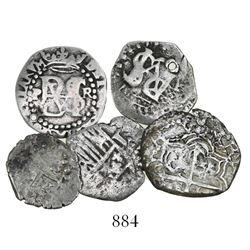 Lot of 5 Potosi, Bolivia, cob 1R (2) and 1/2R (3), Philip II through IV, various assayers (where vis