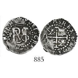 Potosi, Bolivia, cob 1/2 real, Philip II, assayer R  to right (Rincon), mintmark P to left.